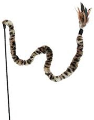 חכה לחתול קונג סוויז בצורת זנב נחש מפרווה ונוצה בקצה